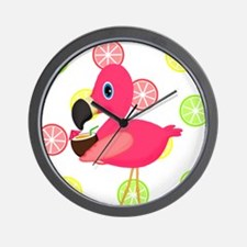 Citrus Pink Flamingo Wall Clock