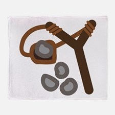 Slingshot With Stones Throw Blanket