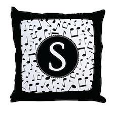 Music Monogram S Throw Pillow