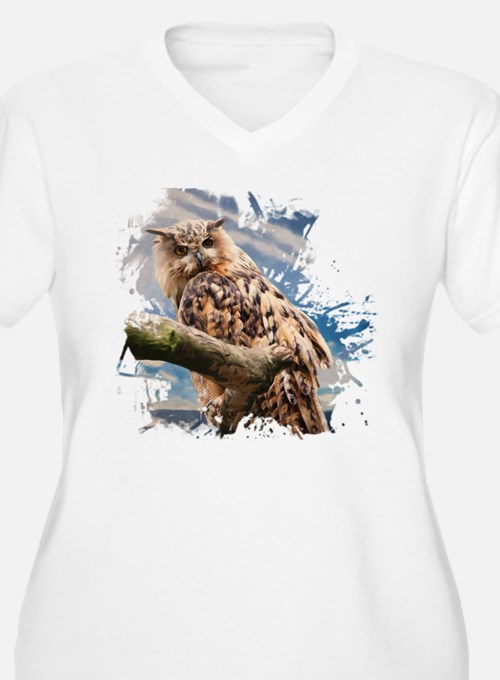 Painting Owl Plus Size T-Shirt