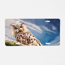 Painting Owl Aluminum License Plate