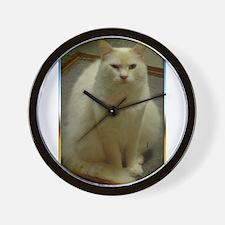 White cat, animal photo Wall Clock