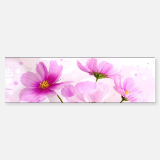 Pink Cosmos Flower Bumper Bumper Bumper Sticker