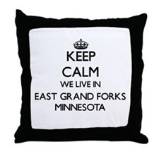 Keep calm we live in East Grand Forks Throw Pillow