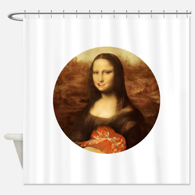 Mona lisa smile shower curtains mona lisa smile fabric for Mona lisa shower curtain