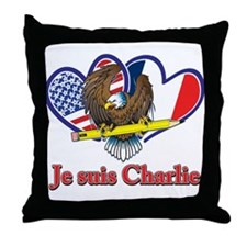 Je suis Charlie French and USA Flag Throw Pillow