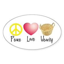 Peace, Love, Weaving Oval Decal