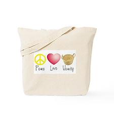 Peace, Love, Weaving Tote Bag