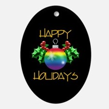 Happy Holidays Rainbow Gift Oval Ornament