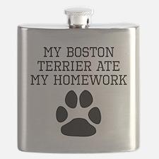 My Boston Terrier Ate My Homework Flask