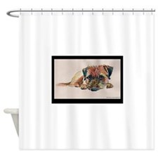 Sleepy Border Terrier Shower Curtain