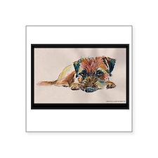 "Sleepy Border Terrier Square Sticker 3"" x 3"""