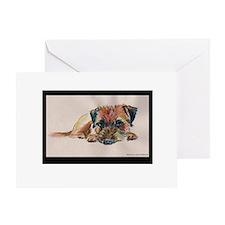Sleepy Border Terrier Greeting Card