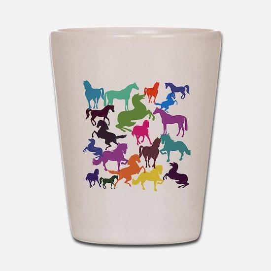 Rainbow Horses Shot Glass