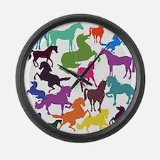 Rainbow Horses Large Wall Clock