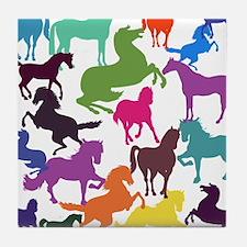 Rainbow Horses Tile Coaster
