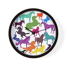 Rainbow Horses Wall Clock