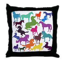 Rainbow Horses Throw Pillow