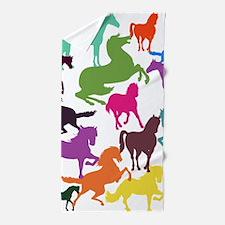 Rainbow Horses Beach Towel