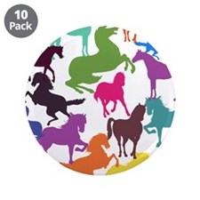 """Rainbow Horses 3.5"""" Button (10 pack)"""