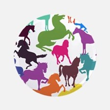 """Rainbow Horses 3.5"""" Button (100 pack)"""