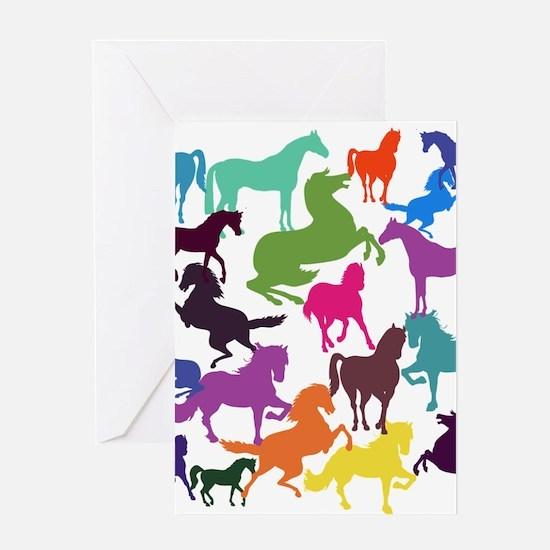 Rainbow Horses Greeting Cards