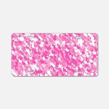 Pink Bunnyflage Aluminum License Plate