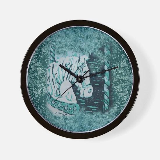 Carousel Horse Aquamarine Wall Clock