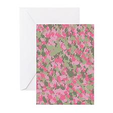Pink Bunnyflage 2 Greeting Cards