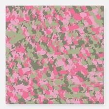 "Pink Bunnyflage 2 Square Car Magnet 3"" x 3"""