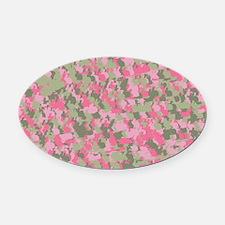 Pink Bunnyflage 2 Oval Car Magnet