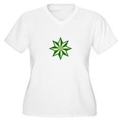 Green Guiding Star Plus Size V-Neck T-Shirt