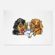 3 Longhaired Dachshunds 5'x7'Area Rug