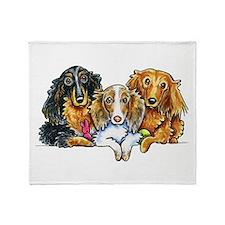 3 Longhaired Dachshunds Throw Blanket