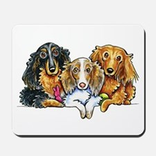 3 Longhaired Dachshunds Mousepad
