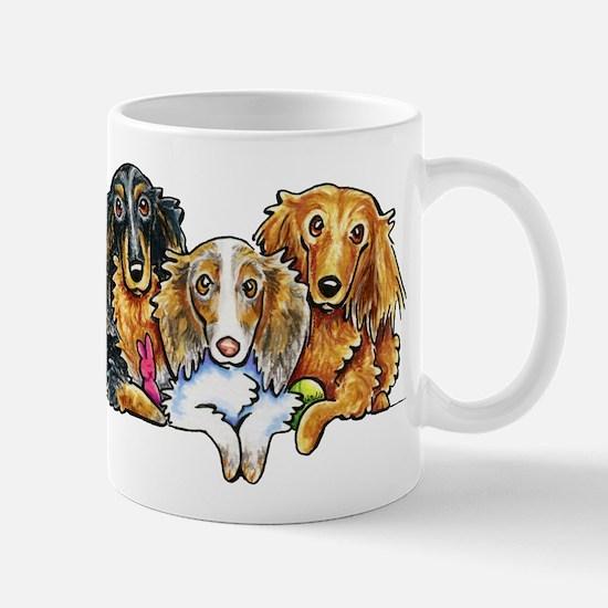 3 Longhaired Dachshunds Mugs