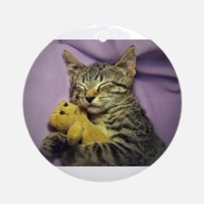 Daisy the sleeping kitty cat with Ornament (Round)