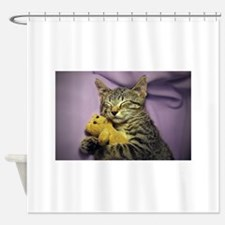 Daisy the sleeping kitty cat with h Shower Curtain