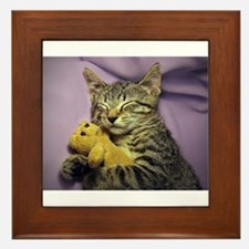 Daisy the sleeping kitty cat with her Framed Tile