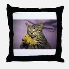 Daisy the sleeping kitty cat with her Throw Pillow