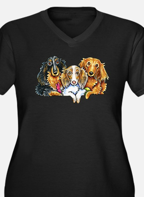 3 Longhaired Dachshunds Plus Size T-Shirt