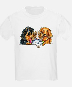 3 Longhaired Dachshunds T-Shirt