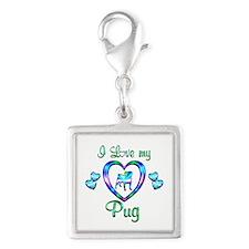 Love My Pug Silver Square Charm