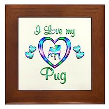 Love My Pug Framed Tile