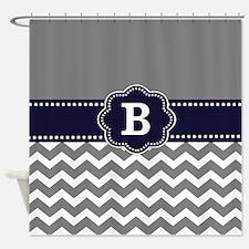 Gray Navy Chevron Monogram Shower Curtain