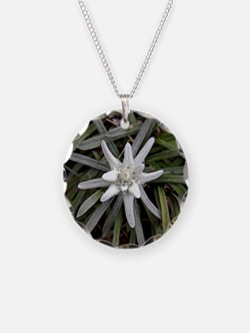 White Alpine Edelweiss Flowe Necklace