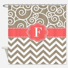 Beige Coral Chevron Swirls Monogram Shower Curtain