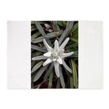 White Alpine Edelweiss Flower 5'x7'Area Rug