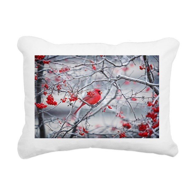 Red Bird & Berries Rectangular Canvas Pillow by daveantphotos