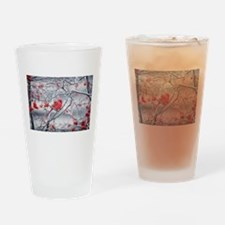 Red Bird & Berries Drinking Glass